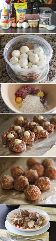 Mozzarella Stuffed Meatballs, love this idea, going to try with chicken meatballs!