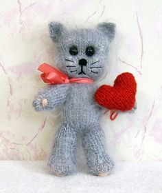 Hand Knit toy funny furry Kitten.
