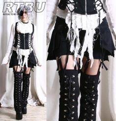 I found 'Gothic Lolita Punk EGL Suspender Pants+Corset LegWarmer+Pleated Kilt Skirt Wrap' on Wish, check it out!