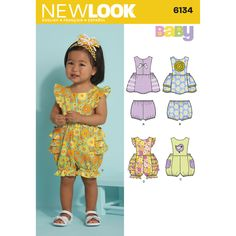 babies' dress and romper with applique and trim options and panties . new look baby sewing pattern.