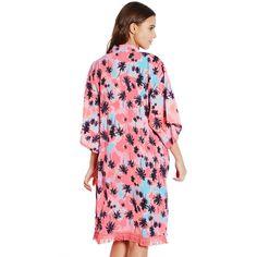 Boutique Neon Pink Palm Tree Fringe Kimono