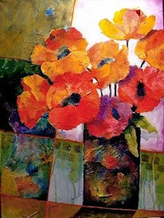 "CFAI Artists: Mixed Media Flower Art Painting ""Orange Dream"" by Colorado Mixed Media Abstract Artist Carol Nelson"
