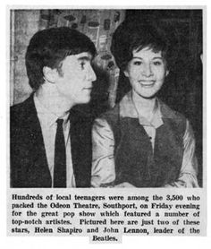 1st March 1963. Helen Shapiro with John at Odeon Cinema, Lord Street, Southport