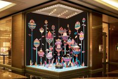 vibrant paper sculpture by Zim and Zou from China for Hermes store Dubai Shop Interior Design, Retail Design, Store Design, Window Display Design, Store Window Displays, Craft Displays, Retail Displays, Exhibition Stand Design, Zou