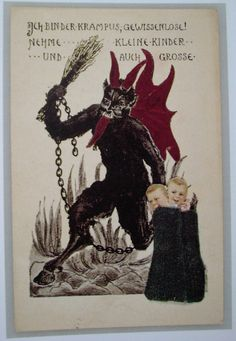 krampus tree | On these picture postcards KRAMPUS is shown as a chain-rattling, hairy ...