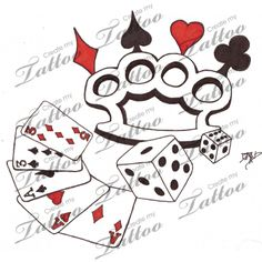 Marketplace Tattoo Brass Knuckles Cards and Dice #7906 | CreateMyTattoo.com