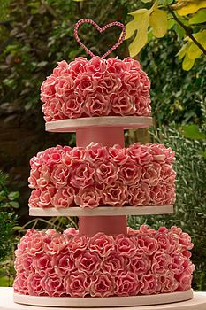 Mille Fleur three tier wedding cake -too flowery for me but still cool