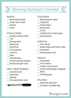 Mission Project Idea:  blessing bag checklist printable