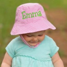 Monogrammed Pink and White Gingham Checked Sun Hat for Baby and Toddler Girls- With Velcro Chin Strap Toddler Sun Hat, Baby Sun Hat, Baby Hats, Toddler Girls, Love Hat, Hats For Sale, Gingham Check, Baby Girl Names, Girl With Hat