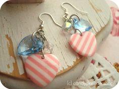 Sugar stripe cluster earrings