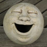 laughing garden sculpture, clay by Michelle GallagherLaughing moon garden sculpture, clay- gotta smile when you see this!Items similar to Large Singing Moon Garden Head, Antique Golden/White/Eggshell on Etsyeasy base shape and solid formjust a random Sculptures Céramiques, Sculpture Clay, Garden Sculptures, Photo Sculpture, Art Pierre, Clay Faces, Moon Garden, Kintsugi, Paperclay