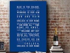 Blue is the Colour Lyrics - Chelsea FC Inspired Song Wall Art Song Lyrics Home Decor Anniversary Gift Typography Lyric PRINT