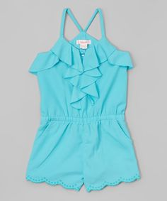 Look what I found on #zulily! Teal Embroidered Romper - Toddler & Girls by Unik #zulilyfinds