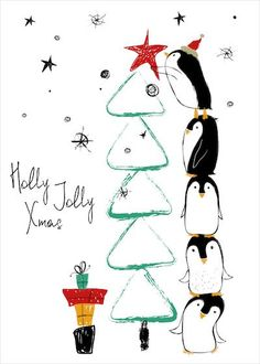Printable Christmas Cards - Holly Jolly Penguin Tree Cute Funny Christmas Tree, Cute Christmas Cards, Merry Christmas Images, Homemade Christmas Cards, Handmade Christmas, Christmas Animals, Free Printable Christmas Cards, Free Printable Cards, Christmas Card Template