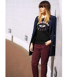Iris of Fashion Zen On Iris: Issue coat; Kenzo sweater; Zara blouse; Fiveunits pants; Christian Louboutin shoes.
