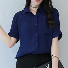 Top Summer New Korean Style Short Bat Sleeve Chiffon Polo Femme Casual And Loose 7 Colors Women Polo Shirt