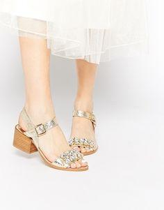 Faith Dassett Gold Leather Embellished Kitten heel Sandals