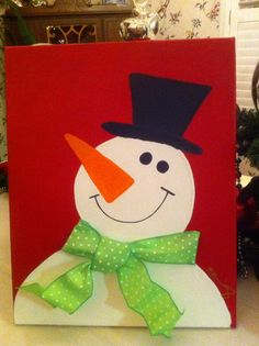 Snowman painting I made for a dirtySanta gift. Great idea if you can paint. This one is pretty simple. Use ribbon for scarf.