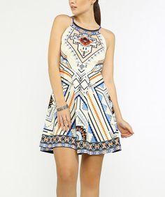 Look at this #zulilyfind! Ivory & Blue Geometric Fit & Flare Dress #zulilyfinds