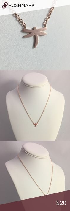 """Dragonfly symbol of change rose tone necklace This is a brand new rose gold plated stainless steel necklace with a dragonfly design. The approximate measurements of the pendant are: 7/16"""" x 1/2"""". The chain is cable style with a lobster clasp and it is 15"""" long plus it has a 2"""" extension. The finished weight of the whole necklace is 3 grams.  N0332 Jewelry Necklaces"""