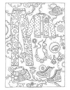 Marjorie Sarnat Fanciful Fashions Coloring Book.  Fashion Coloring