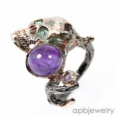 Handmade Fine Art Natural Amethyst 925 Sterling Silver Ring Size 7.25/R34691 #APBJewelry #Ring