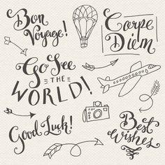 CLIP ART: Travel Photoshop Overlays // Editable Vector eps and psd // World Traveler Good Luck Best Wishes Bon Voyage // Digital Brush Stamp