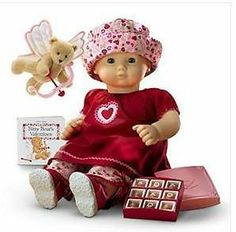 New American Girl Bitty Baby Heart to Heart Set 2004 American Girl Doll Videos, American Girl Doll Pictures, American Girl Doll Samantha, Bitty Baby Clothes, Girl Doll Clothes, Bear Valentines, Ag Dolls, Girl Dolls, Twin Babies