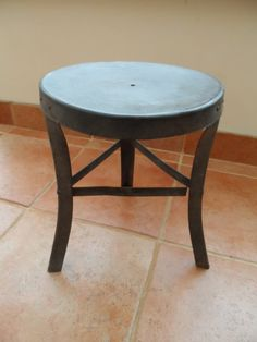 Vintage Galvanised metal with Wooden Seat Farm 3 legged Milking Stool with that Industrail Look by VintageFoggy on Etsy