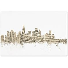 Trademark Fine Art Los Angeles Skyline Sheet Music Canvas Art by Michael Tompsett, Size: 30 x 47, Multicolor