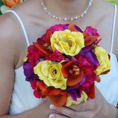 15pc Tropical, Summer, Destination, or Rainbow Wedding Bouquet : Orange, Pool Blue, Yellow, Fuchsia Pink, Purple, Bouquets, Boutonnieres, Corsages silkflowers weddingthemes weddingbouquets bridalbouquet