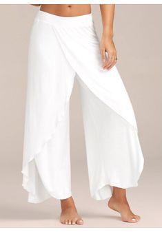 High Slit Flowy Layered Palazzo Pants – White S Mobile - Hosen Mode Lookbook, Wide Leg Yoga Pants, Wide Trousers, Palazzo Trousers, Stretch Pants, Wide Leg Palazzo Pants, Culotte Pants, Men Trousers, Diy Kleidung