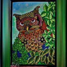 Coruja da floresta Forest owl #thecantsleepcolouringbook #olivroantiinsonia #adultcoloring #coloringbook #divasdasartes #prazeremcolorir…