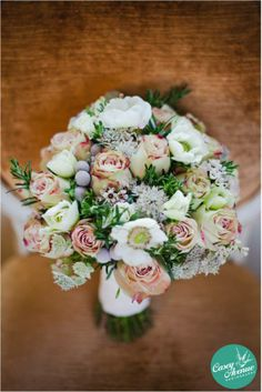 Bouquet of Upper Secret Roses, Astrantia, Anemones, Brunia, Wax Flower and Rosemary by www.beaubright.co.uk