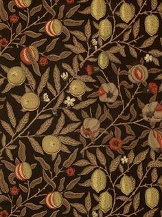 Buy Wine / Manilla, 210397 Morris & Co. Fruit Wallpaper from our Wallpaper range at John Lewis & Partners. William Morris Wallpaper, William Morris Art, Morris Wallpapers, Art Deco, Art Nouveau, Vintage Style Wallpaper, Color Schemes Colour Palettes, Tapestry Fabric, Textiles