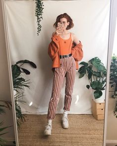 "65b697d9207 LIBBY ✱ ✧ ☼ on Instagram  ""Funky trouser appreciation 🧡 all items worn in  these looks are vintage!! I sell similar things over on my Depop if ur  curious ..."