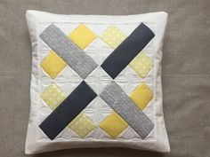 Yellow and grey pillow  quilted throw pillow  by PrositoQuilts