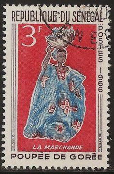 "POSTAGE STAMPS: 1966 Senegal Dolls ""Goree Puppets"" 3 Fr"