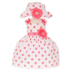 4929c0d65 Cinderella Couture Baby Girls' Polka Dotted Rockabilly Style Easter Dress &  Hat by Cinderella Couture Cotton Polyester Made in USA Polka Dotted