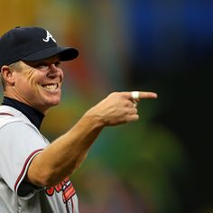 #10 Chipper Jones looks on during a game against the Miami Marlins at Marlins Park