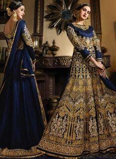Navy Blue Embroidery Work Banarsi Silk Designer Wedding Anarkali Gown Suit http://www.angelnx.com/Salwar-Kameez/Anarkali-Suits
