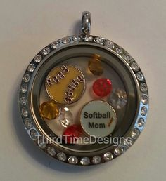 Locket Chain and Softball Mom Floating Charm by ThirdTimeDesigns, $24.99