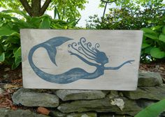 Fantasy Whirly Mermaid Decor Hand Painted Wood Sign