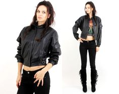Vintage 80s Black Leather Trim Batwing Women Jacket Size S by Ramaci on Etsy