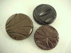 3 Styles & Colors Vtg Chunky Lrg Highly Carved Brown Bakelite Loop Shank Buttons