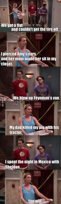 """I spent the night in Mexico with Sheldon"" - Leonard, Penny and Sheldon #TheBigBangTheory"