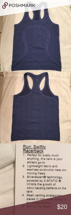 NWOT Lululemon Run Swiftly Tank sz 10. No offers. Light and airy fabric! Perfect for warm weather activities outdoors. Strategically placed vents where ladies sweat most! Inhibits odor so you can feel confident grabbing lunch or coffee with friends after your sweat session. Tag pictured is not for this shirt. 🚫offers on this item, thanks! lululemon athletica Tops Tank Tops