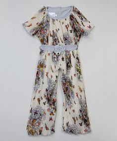 Look at this Blossom Couture Ivory & Gray Butterfly Pleated Jumpsuit - Kids & Tween on #zulily today!