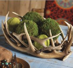 Antler bowl, could DIY this antler centerpiece and moss balls could put something else in the bowl or use the Moss Decor Balls, rustic feel Antler Centerpiece, Table Centerpieces, Antler Decorations, Centerpiece Ideas, Masculine Centerpieces, Antler Crafts, Antler Art, Hunting Crafts, Decoration Table