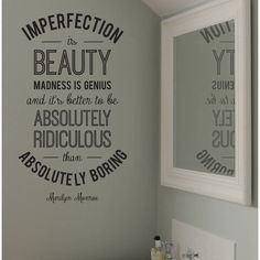 leonora hammond 'Imperfection' Marilyn Monroe Quote Wall Sticker ($34) ❤ liked on Polyvore featuring home, home decor and marilyn monroe home decor